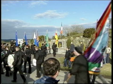 ira shooting offer file / tx ireland south armagh ext gv commemoration rally for two ira members brendan moley and brendan burns lms side gerry adams... - gerry adams stock videos and b-roll footage
