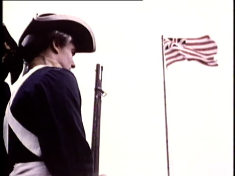 vídeos de stock e filmes b-roll de 1969 reenactment montage robert morris, george ross and george washington of the continental congress visiting betsy ross and viewing the design of the american flag in 1776 / united states - george washington