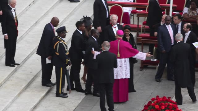 robert mugabe, grace mugabe, georg ganswein at pope john paul ii and pope john xxiii are declared saints during a vatican mass at st. peter's square... - pope john xxiii stock videos & royalty-free footage