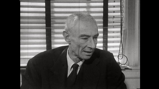 robert oppenheimer on the british government's role and involvement in supporting the manhattan project; 1965. - nuclear bomb stock videos & royalty-free footage