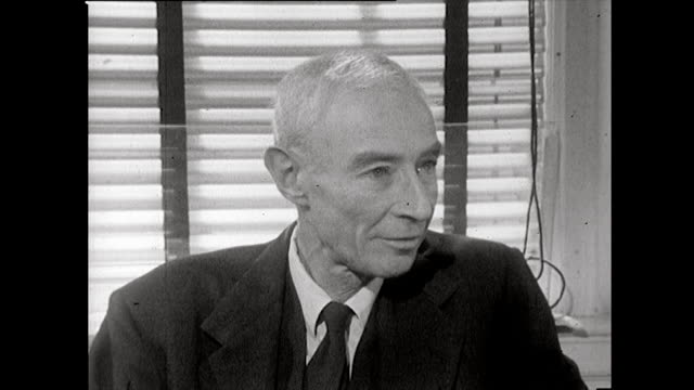j robert oppenheimer recalls a meeting of a scientific advisory panel at los alamos and whether it was a 'foregone conclusion' that a nuclear bomb... - nuclear weapon stock videos & royalty-free footage