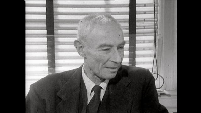 j robert oppenheimer recalls discussions amongst a scientific advisory panel at los alamos on whether demonstrating an atomic bomb's power in an... - weapons of mass destruction stock videos & royalty-free footage