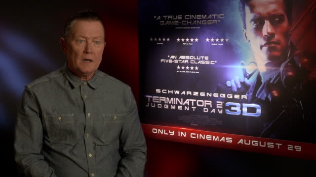 robert patrick on talking to james cameron about the film being remastered for 3d at '3d release of 'terminator 2: judgement day' - interview at the... - james cameron stock videos & royalty-free footage