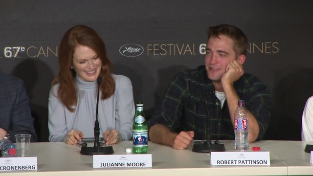 robert pattinson on having sex with julianne moore and juliette binoche in his films at 'maps to the stars' press conference at palais des festivals... - juliette binoche stock videos & royalty-free footage