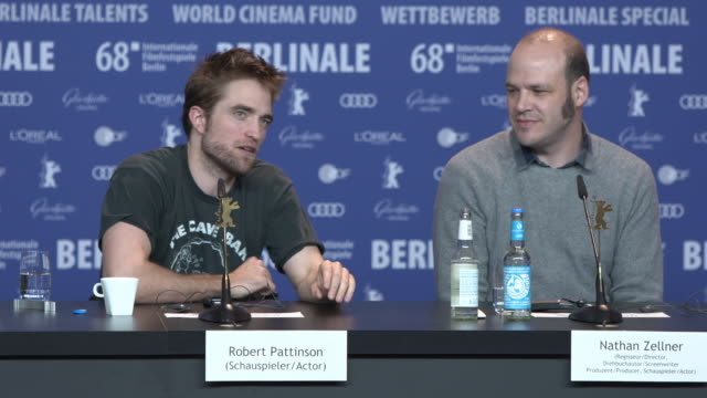 INTERVIEW Robert Pattinson talks about acting in a western comedy 68th Berlin Film Festival 'Damsel' Press Conference at Grand Hyatt on February 16...
