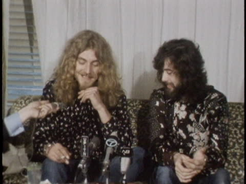 robert plant and jimmy page joke about spiro agnew attending a led zeppelin concert, during a press conference before a 1970 concert at madison... - rocking stock videos & royalty-free footage
