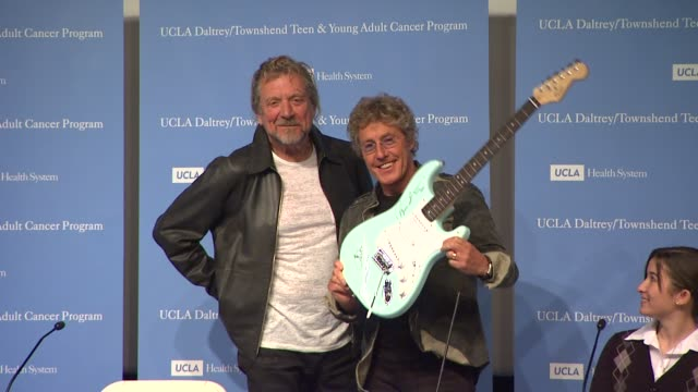 robert plant, roger daltrey at the the ucla daltrey/townshend teen and young adult cancer program dedication at los angeles ca. - roger daltrey stock-videos und b-roll-filmmaterial