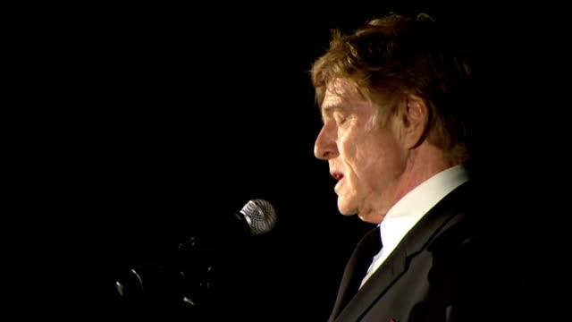 vídeos de stock e filmes b-roll de robert redford and prince charles at film premiere robert redford speech sot - robert redford