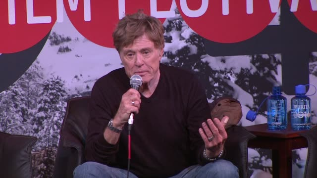 speech robert redford at day one press conference 2014 sundance film festival at egyptian theatre on in park city utah - park city utah video stock e b–roll