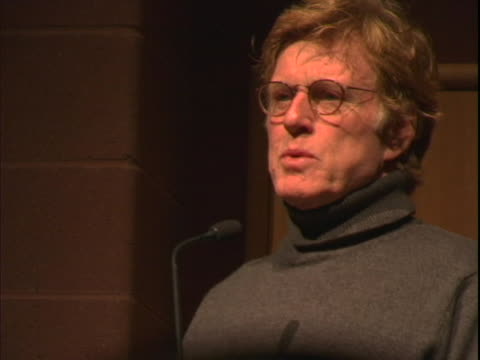 stockvideo's en b-roll-footage met robert redford at the sundance film festival riding giants premiere at in park city utah - sundance film festival