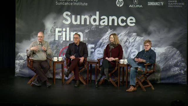 robert redford, john cooper, keri putnam at day one press conference - 2015 sundance film festival at egyptian theatre on january 22, 2015 in park... - park city stock videos & royalty-free footage