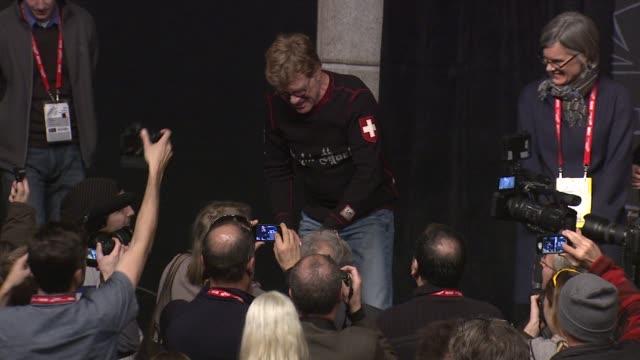 robert redford leaving the stage at opening day press conference - 2013 sundance film festival robert redford leaving the stage at opening day pr on... - park city utah stock videos & royalty-free footage