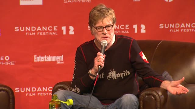 robert redford on growing independent films industry at day 1 press conference of 2012 sundance film festival on 1/19/12 in park city utah - 1日目点の映像素材/bロール