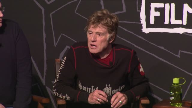 robert redford on gun violence in the film industry at opening day press conference - 2013 sundance film festival speech - robert redford on gun... - sundance film festival stock videos & royalty-free footage
