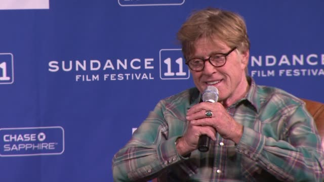 robert redford on his vision of how the festival began at the press conference 2011 sundance film festival at park city ut - sundance film festival stock videos & royalty-free footage