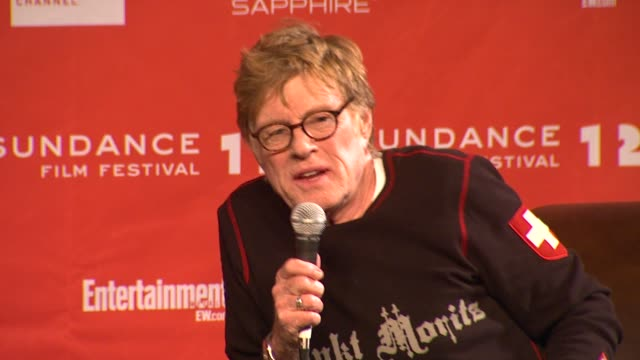 robert redford on negative outlook in the country at day 1 press conference of 2012 sundance film festival on 1/19/12 in park city utah - 1日目点の映像素材/bロール