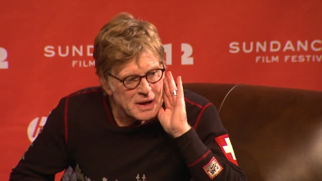 robert redford on seeing films during the festival at day 1 press conference of 2012 sundance film festival on 1/19/12 in park city utah - 1日目点の映像素材/bロール