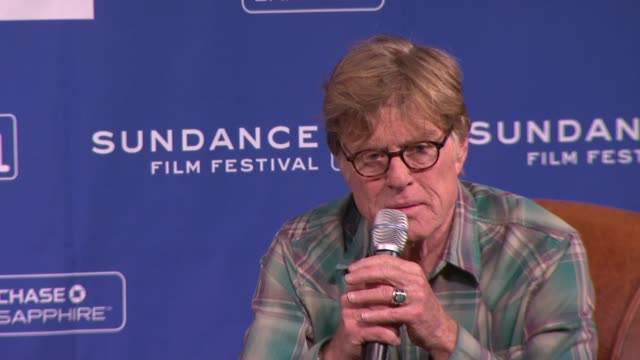 stockvideo's en b-roll-footage met robert redford on the sundance film festival being to commercialized and the future of films at the press conference 2011 sundance film festival at... - sundance film festival