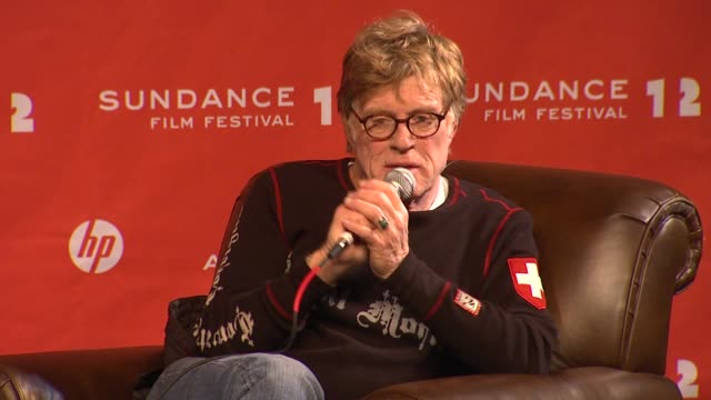robert redford on what he does in sundance at day 1 press conference of 2012 sundance film festival on 1/19/12 in park city utah - day 1 stock videos & royalty-free footage