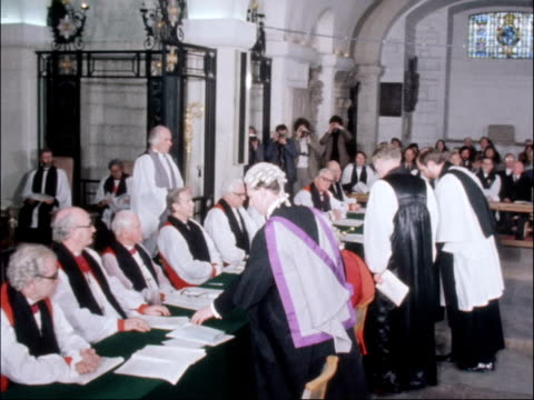 robert runcie confirmed as archbishop of canterbury; england: london: st paul's: int the right reverend robert runcie along to table then kneels and... - robert runcie stock videos & royalty-free footage