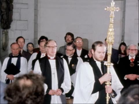 robert runcie confirmed as archbishop of canterbury; runcie processing along with clergy tx:25.2.80/nat - robert runcie stock videos & royalty-free footage