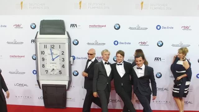 Robert Stadlober and Tobias Schloegl at the Lola German Film Award at Messe Berlin on May 27 2016 in Berlin Germany