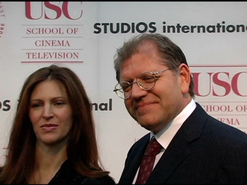 robert zemeckis and wife lslie harter at the usc school of film and television's 75th anniversary gala interviews at hobart auditorium in los angeles... - robert zemeckis stock videos and b-roll footage