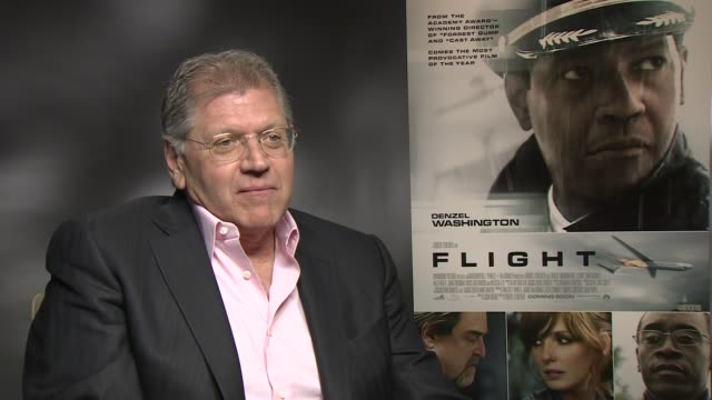 interview robert zemeckis on denzels attraction to the audiece at the flight junket in london on 17th january 2013 - robert zemeckis stock videos and b-roll footage