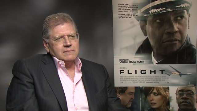 interview robert zemeckis on making the audience empathise with the anti hero at the flight junket in london on 17th january 2013 - robert zemeckis stock videos and b-roll footage