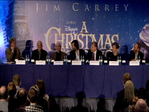 robert zemeckis on the production design at the a christmas carol press conference at london england - robert zemeckis stock videos and b-roll footage