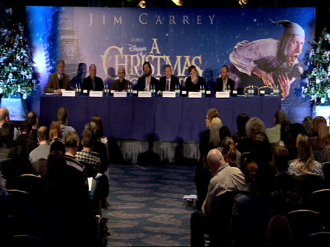 robert zemeckis on the story being based in another country at the a christmas carol press conference at london england - robert zemeckis stock videos and b-roll footage