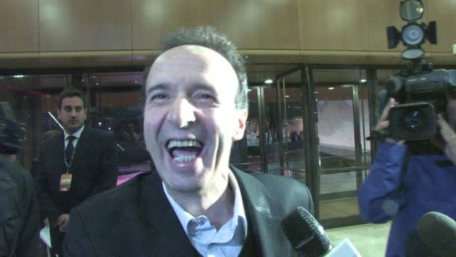 Roberto Benigni on working with Woody Allen at the To Rome With Love World Premiere in Rome Italy on April 13 2012 INTERVIEW Roberto Benigni on...