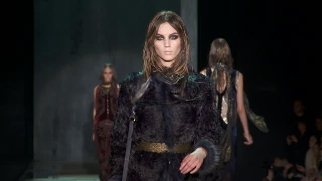 milan fashion week a/w 2011 on february 27, 2011 in milan, italy - roberto cavalli designer label stock videos & royalty-free footage