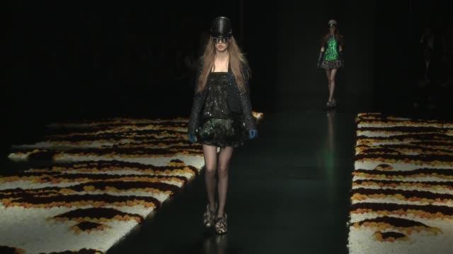 milan fashion week women a/w 2012 on february 27, 2012 in milan, italy - ブランド ロベルト・カヴァリ点の映像素材/bロール