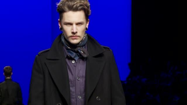 milan men's fashion week a/w 2011 on january 16, 2011 in milan, italy - roberto cavalli designer label stock videos & royalty-free footage