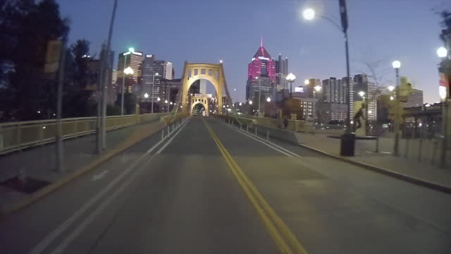 roberto clemente bridge at twilight - banner stock videos & royalty-free footage