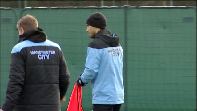 roberto mancini and his coaching staff put the man city players through their paces as they prepare for their must-win champions league game against... - team photo stock videos & royalty-free footage