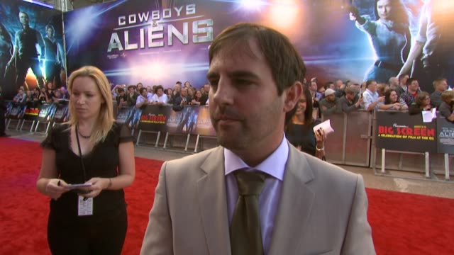 roberto orci on the screenplay it being a serious film the tone and more at the cowboys aliens uk premiere at london england - cowboys & aliens stock videos and b-roll footage