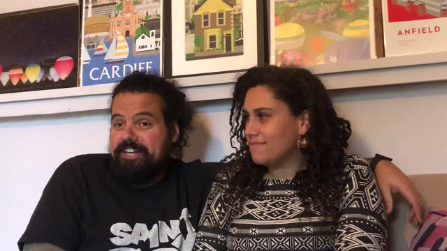 robin and emma-jane richards arrange artworks at their home in bedminster, bristol, where they have set up a gallery in the front window, displaying... - moving past stock videos & royalty-free footage