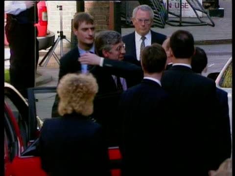 Robin Cook greets and shares embrace with Jack Straw following Labour Party election victory London 02 May 97