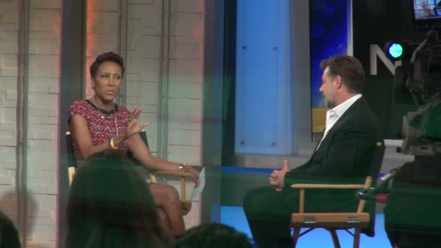 robin roberts interviewing russell crowe on the set of the good morning america show in celebrity sightings in new york - russell crowe stock videos & royalty-free footage