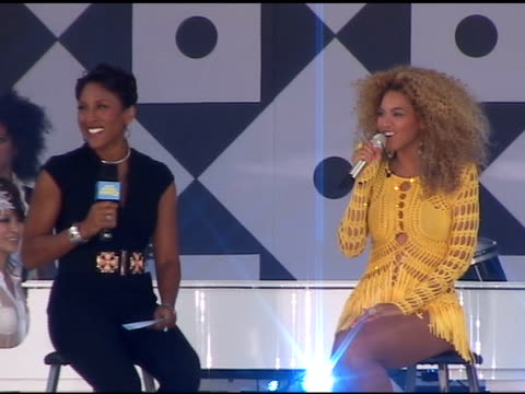 robin roberts interviews beyonce on 'good morning america' in central park in new york 07/01/11 - media interview stock videos & royalty-free footage