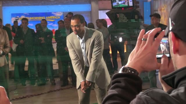 robin roberts tiger woods on the set of good morning america 03/15/12 in celebrity sightings in new york - good morning america stock videos and b-roll footage