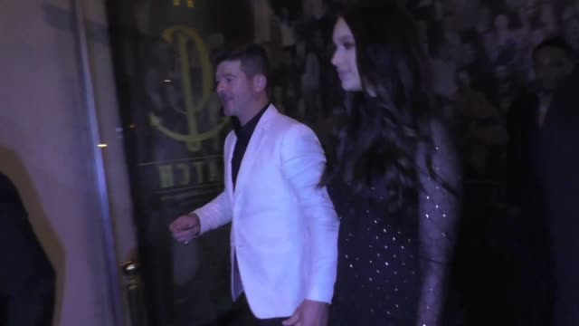 robin thicke & april love geary outside catch restaurant in west hollywood in celebrity sightings in los angeles, - aprile video stock e b–roll