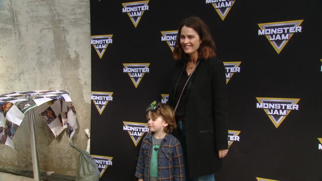 robin tunney at monster jam celebrity event at angel stadium on february 23, 2020 in anaheim, california. - angel stadium stock videos & royalty-free footage