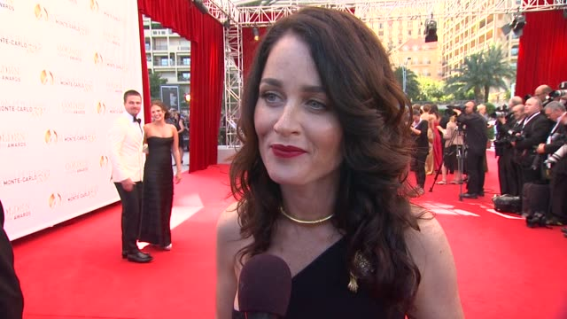 robin tunney on her fan response at the closing ceremony of the 53rd monte-carlo television festival - day 4 in monte-carlo, monaco, on 6/13/13. - robin day stock videos & royalty-free footage