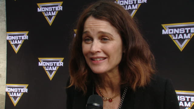 robin tunney on tell us who are you here with today and what are you looking forward to seeing at monster jam, on which truck is his favorite and on... - angel stadium stock videos & royalty-free footage