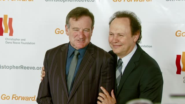 robin williams and billy crystal at the third annual los angeles gala for the christopher and dana reeve foundation honoring robin williams at the... - christopher and dana reeve foundation stock videos and b-roll footage