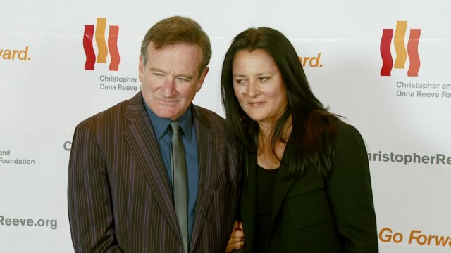 robin williams and marsha garces williams at the third annual los angeles gala for the christopher and dana reeve foundation honoring robin williams... - christopher and dana reeve foundation stock videos and b-roll footage