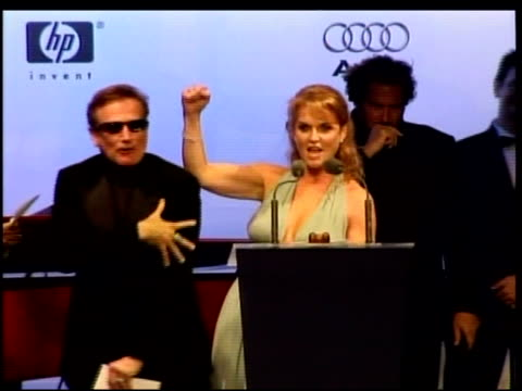 robin williams and sarah ferguson auctioning at the amfar's cinema against aids in cannes on may 25 2006 - duchess of york stock videos & royalty-free footage